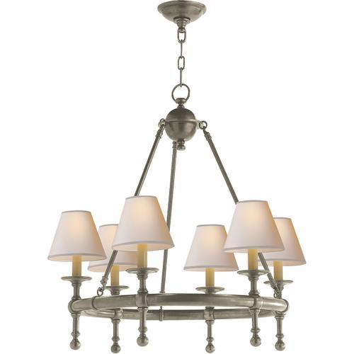 E. F. Chapman Classic 6 Light 26 inch Antique Nickel Chandelier Ceiling Light