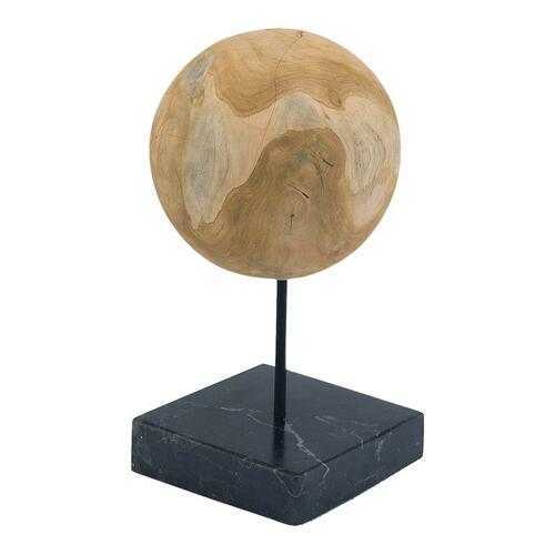 Round Teak Ball On Black Marble Base Medium