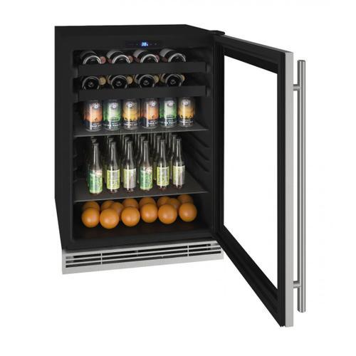 "U-Line - Hbv124 24"" Beverage Center With Stainless Frame Finish (115v/60 Hz Volts /60 Hz Hz)"