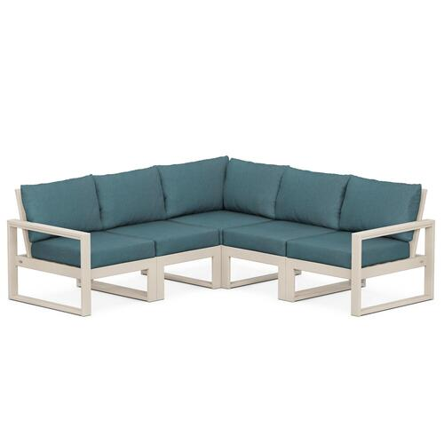 Polywood Furnishings - EDGE 5-Piece Modular Deep Seating Set in Sand / Ocean Teal