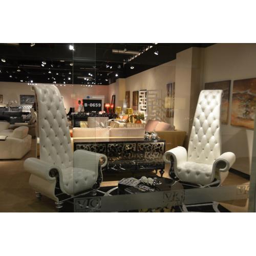 VIG Furniture - Divani Casa Luxe - Neo-Classical Pearl White Italian Leather Tall Chair