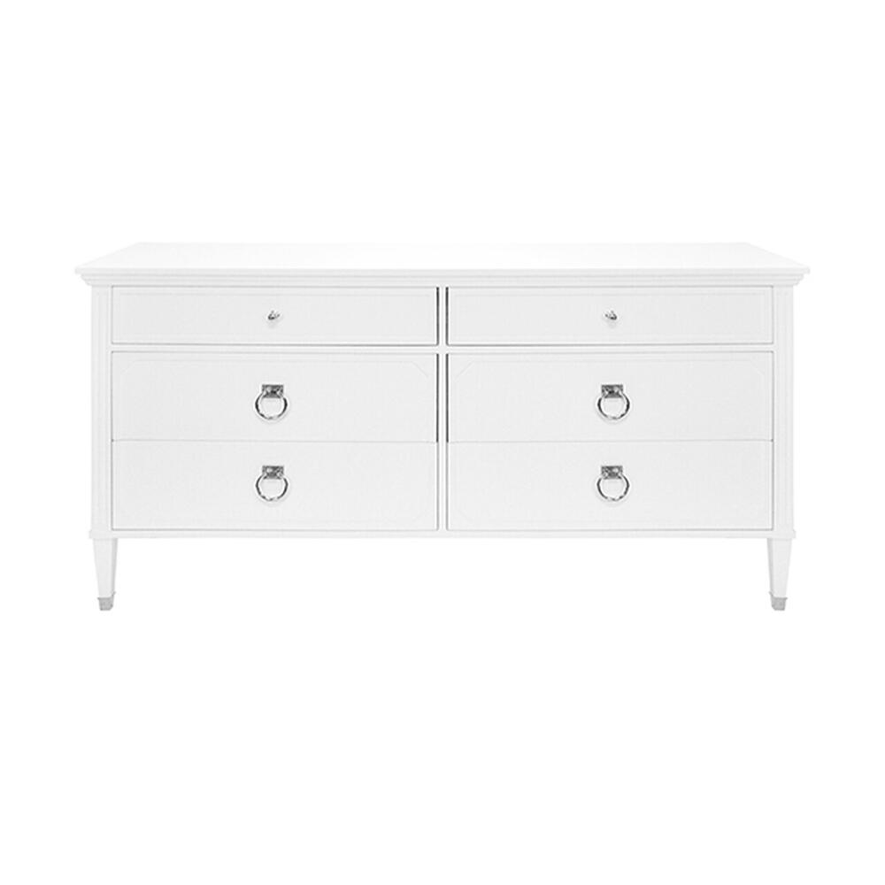 Six Drawer Chest In White Lacquer With Nickel Hardware