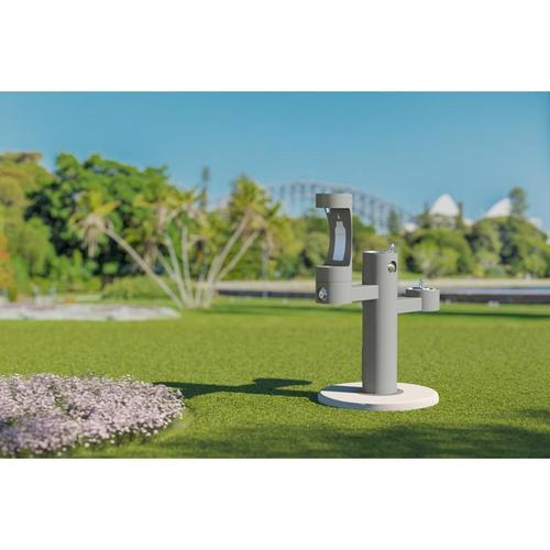 Elkay - Elkay Outdoor EZH2O Bottle Filling Station Tri-Level Pedestal, Non-Filtered Non-Refrigerated Gray