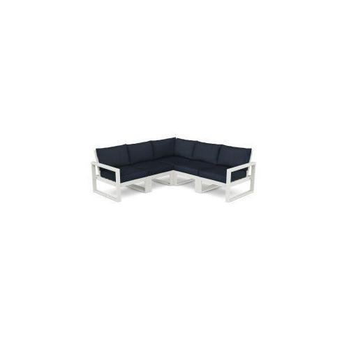 Polywood Furnishings - EDGE 5-Piece Modular Deep Seating Set in Vintage White / Marine Indigo