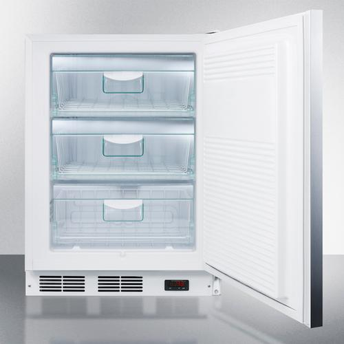 ADA Compliant Built-in Medical All-freezer Capable of -25 C Operation, With Lock, Stainless Steel Door, Horizontal Handle, and White Cabinet