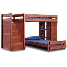 See Details - Twin/Twin Reversible Staircase Loft Bed w/Staircase Drawers