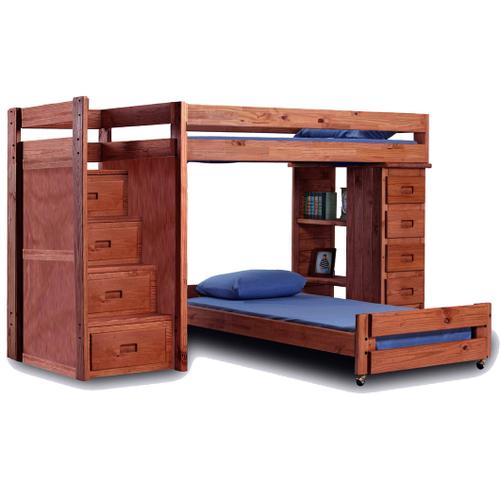Twin/Full Reversible Staircase Loft Bed