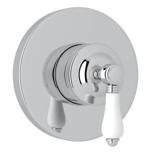 Polished Chrome Italian Bath 4-Port, 3-Way Diverter Trim with White Porcelain Lever Product Image