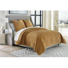 3pc Queen Coverlet Set Gold
