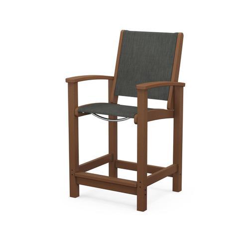 Coastal Counter Chair in Teak / Ember Sling
