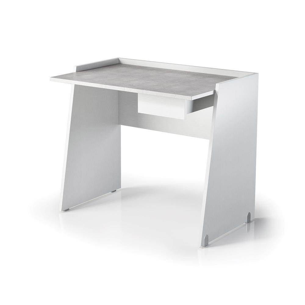 The Marco Office Desk Part Of Our Kd Collection In White Wood Grain And Light Gray Concrete Melamine