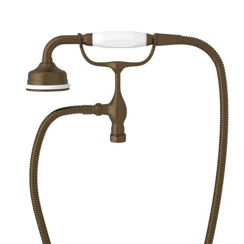 Edwardian Handshower and Cradle - English Bronze with White Porcelain Lever Handle