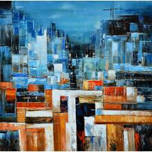 Product Image - Modrest Abstract Blue & Orange Oil Painting