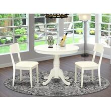 3 Pc Kitchen table set with a Dining Table and 2 Kitchen Chairs in Linen White