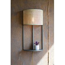 See Details - wall sconce light with rattan shade and metal shelf