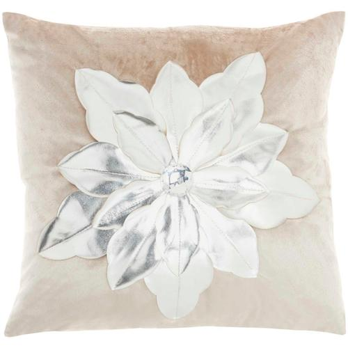 "Holiday Pillows L9966 Beige Silver 16"" X 16"" Throw Pillow"