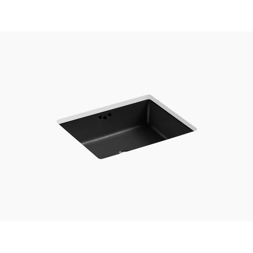 "Black Black 19-3/4"" X 15-5/8"" X 6-1/4"" Undermount Bathroom Sink With Glazed Underside"