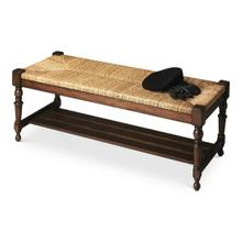 This spectacular bench will make a grand statement at the foot of a bed, an entryway or in virtually any other space. Hand crafted from solid mahogany wood solids, it features a meticulously woven banana leaf wicker seat, immaculately turned legs and a slatted shelf beneath the seat.