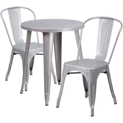 24'' Round Silver Metal Indoor-Outdoor Table Set with 2 Cafe Chairs
