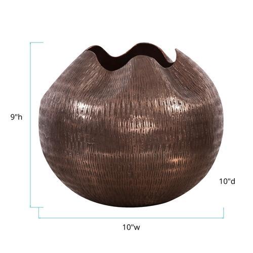 Howard Elliott - Textured Deep Copper Aluminum Pinched Top Globe Vase, Small