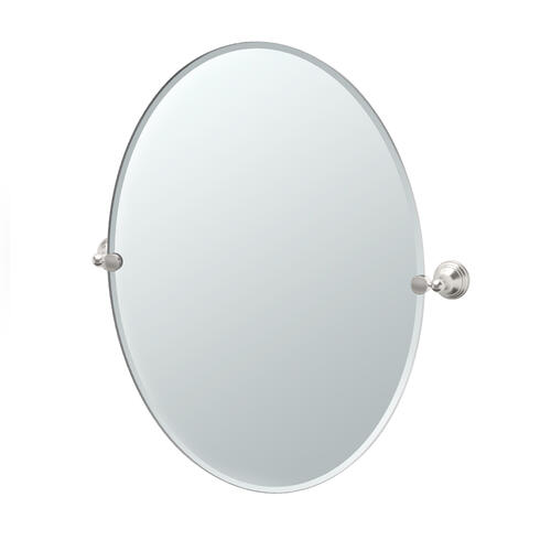 Charlotte Oval Mirror in Satin Nickel
