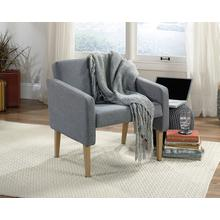 Gray Tweed Accent Chair with Faux Woodgrain