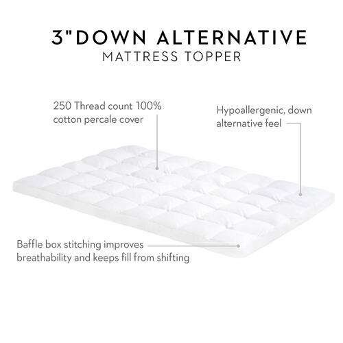3 Inch Down Alternative Mattress Topper Full
