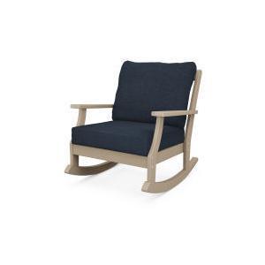 Polywood Furnishings - Braxton Deep Seating Rocking Chair in Vintage Sahara / Marine Indigo