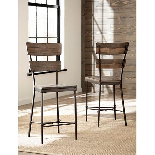 Gallery - Jennings 5 Piece Round Counter Height Dining Set With Non-swivel Counter Stools - Distressed Walnut