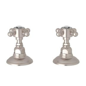 Set of Hot and Cold 3/4 Inch Sidevalves - Satin Nickel with Crystal Cross Handle