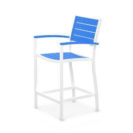 Polywood Furnishings - Eurou2122 Counter Arm Chair in Satin White / Pacific Blue