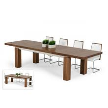 View Product - Modrest Maxi - Modern Walnut & Stainless Steel Dining Table