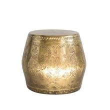 """Product Image - 20"""" Round x 18""""H Debossed Metal Drum Table, Antique Brass Finish"""