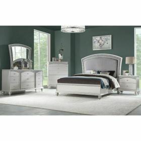 ACME Maverick Queen Bed - 21800Q - Fabric & Platinum