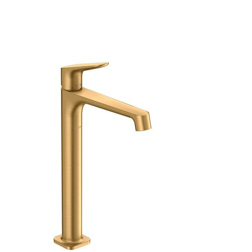 Brushed Brass Single lever basin mixer 250 for wash bowls with waste set