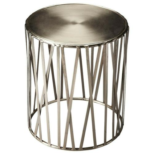 Butler Specialty Company - Pound out some serious style on the Kruse iron drum table. The round polished top is poised over open ironwork ribs. The silver metal finish gives this already modern piece even more of a contemporary air.