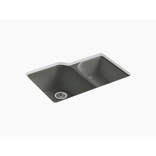 """Thunder Grey 33"""" X 22"""" X 10-5/8"""" Undermount Large/medium, High/low Double-bowl Kitchen Sink With 4 Oversize Faucet Holes"""