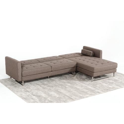 VIG Furniture - Divani Casa Smith - Modern Brown Fabric Right Facing Sectional Sofa Bed
