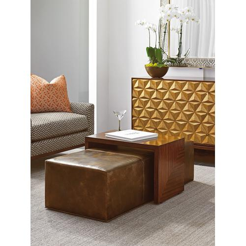 Broadway Leather Cocktail Ottoman
