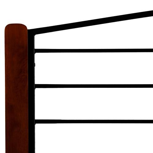 Dayton Metal Headboard Panel with Flat Wood Posts and Sloping Top Rail, Black Grain Finish, King
