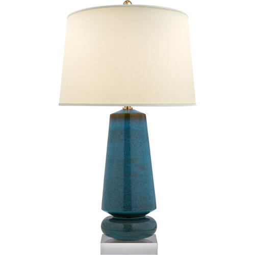 Visual Comfort - E. F. Chapman Parisienne 35 inch 150.00 watt Oslo Blue Table Lamp Portable Light, E.F. Chapman, Medium, Natural Percale Shade
