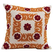 """See Details - 20"""" Square Suzani Embroidered Pillow, Sienna & Curry Color"""