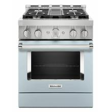 View Product - KitchenAid® 30'' Smart Commercial-Style Gas Range with 4 Burners - Misty Blue