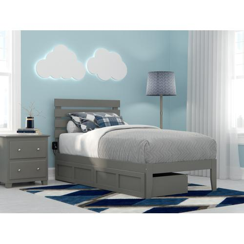 Oxford Twin Bed with USB Turbo Charger and 2 Drawers in Grey