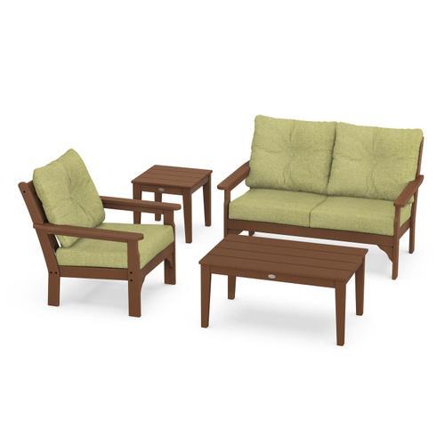 Vineyard 4-Piece Deep Seating Set in Teak / Chartreuse Boucle