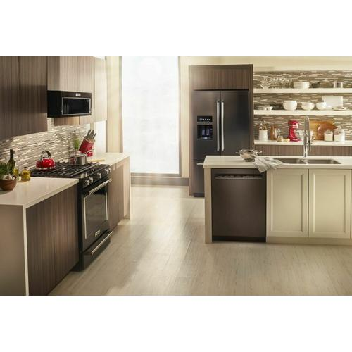 KitchenAid - 26.8 cu. ft. 36-Inch Width Standard Depth French Door Refrigerator with Exterior Ice and Water and PrintShield Finish Black Stainless Steel with PrintShield™ Finish