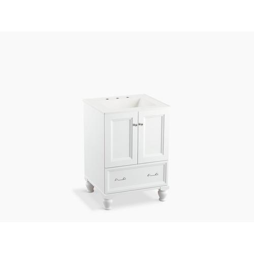 "Cherry Tweed 24"" Bathroom Vanity Cabinet With Furniture Legs, 2 Doors and 1 Drawer"