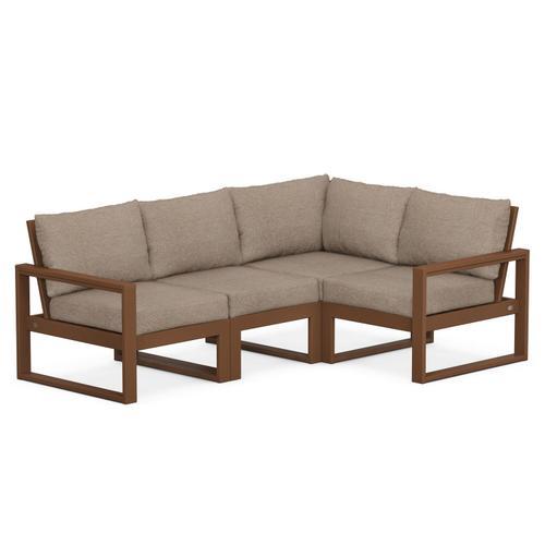 Polywood Furnishings - EDGE 4-Piece Modular Deep Seating Set in Teak / Spiced Burlap