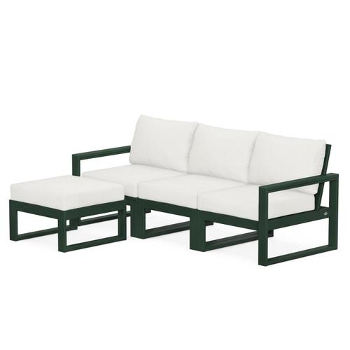 Polywood Furnishings - EDGE 4-Piece Modular Deep Seating Set with Ottoman in Green / Natural Linen