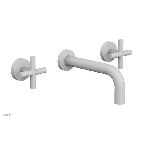 "Phylrich - TRANSITION - Wall Lavatory Set 7 1/2"" Spout - Cross Handles 120-11 - Satin White"